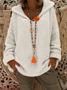 White Hooded Long Sleeve Oversize Fashion Pullover Sweater