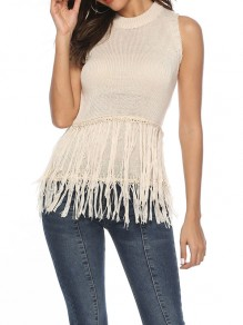 Apricot Tassel Bodycon Round Neck Going out Pullover