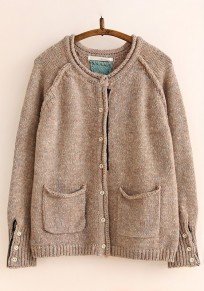 Camel Plain Pockets Curling Cardigan Sweater