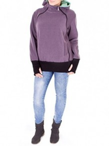 Grey Plain Zipper Hooded Casual Cotton Cardigan Sweatshirt