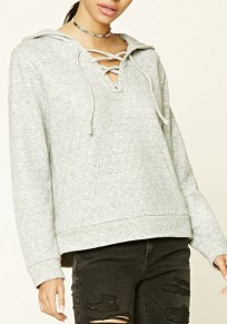 Light Grey Plain Lace-up Hollow-out V-neck Long Sleeve Hooded Pullover Sweatshirt