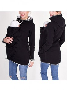 Black Patchwork Pockets Zipper Hooded Long Sleeve Sweatshirt