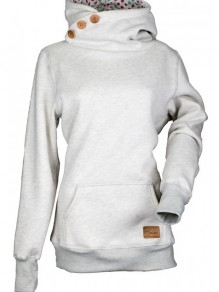 Grey Plain Pockets Buttons Hooded Long Sleeve Fashion Sweatshirt