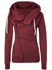 Burgundy Plain Side Zipper Pockets Cowl Neck Casual Hooded Cardigan Sweatshirt