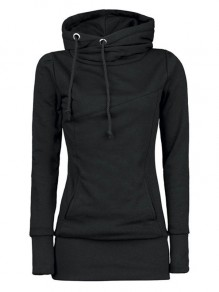 Black Plain Drawstring Pockets Cowl Neck Plus Size Hooded Pullover Sweatshirt