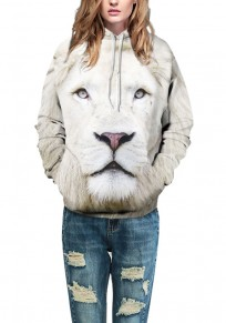White Lion Print Drawstring Pockets Hooded Fashion Sweatshirt