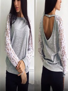 Grey Patchwork Hollow-out Lace Cut Out Long Sleeve Fashion Sweatshirt