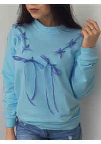Blue Round Neck Bow Lace-up Long Sleeve Casual Pullover Sweatshirt