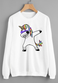 White Unicorn Print Round Neck Long Sleeve Casual Pullover Sweatshirt
