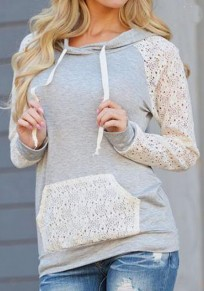 Grey Patchwork Pockets Lace Hooded Long Sleeve Casual Sweatshirt