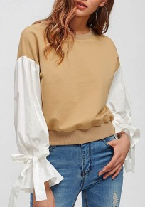 Apricot Patchwork Irregular Bow Round Neck Long Sleeve Pullover Sweatshirt