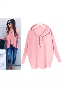 Pink Irregular Drawstring Hooded Long Sleeve Casual Pullover Sweatshirt