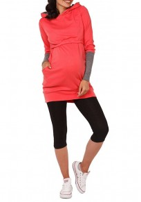 Red Plain Pockets Cut Out Hooded Casual Pullover Sweatshirt