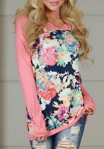Pink Patchwork Print Long Sleeve Hooded Pullover Sweatshirt
