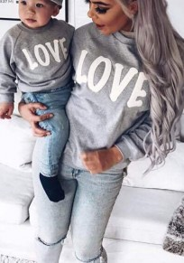 Grey And White Letter Print Round Neck Casual Pullover Sweatshirt