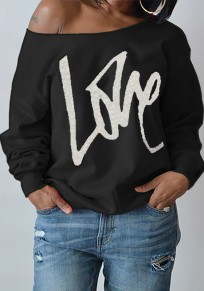 Black Love Letter One-Shoulder Round Neck Long Sleeve Fashion Sweatshirt