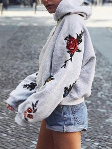 Grey Flowers Embroidery Hooded Long Sleeve Casual Pullover Sweatshirt