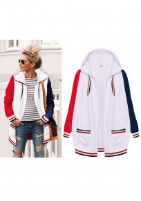 White Striped Pockets Hooded Long Sleeve Cardigan Hooded Sweatshirt
