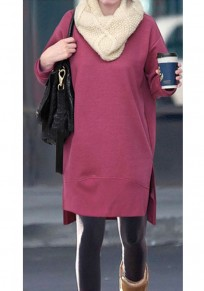 Red Draped Irregular Side Slit Round Neck Long Sleeve Sweatshirt