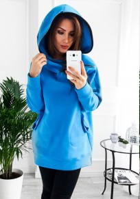 Light Blue Plain Pockets Zipper Hooded Casual Pullover Sweatshirt