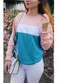 Multicolor Patchwork Round Neck Fashion Pullover Sweatshirt