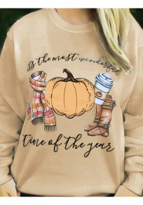 Khaki Print Round Neck Long Sleeve Casual Halloween Pullover Sweatshirt