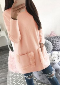 Pink Plain Pockets Round Neck Casual Pullover Sweatshirt