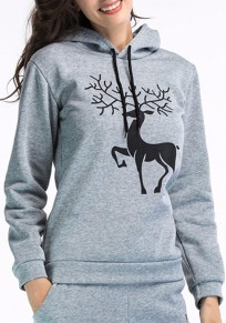 Grey Animal Deer Drawstring Hooded Long Sleeve Christmas Sweatshirt
