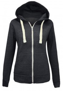 Black Pockets Drawstring Zipper Casual Cardigan Hooded Sweatshirt