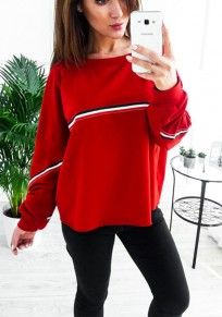 Red Striped Print Round Neck Casual Pullover Sweatshirt