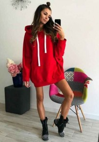 Red Pockets Drawstring Hooded Long Sleeve Casual Pullover Sweatshirt