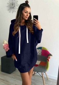 Blue Pockets Drawstring Hooded Long Sleeve Casual Pullover Sweatshirt