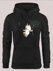 Black Unicorn Print Drawstring Pockets Hooded Long Sleeve Pullover Sweatshirt