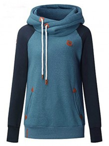 Blue Patchwork Badge Drawstring Hooded Casual Pullover Sweatshirt