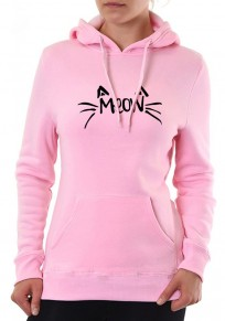 Pink Cat Print Badge Drawstring Hooded Cute Pullover Sweatshirt