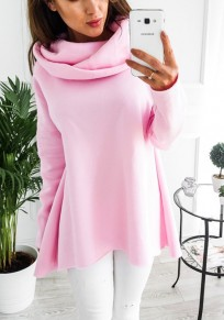 Pink Plain Irregular Casual Cardigan Hooded Sweatshirt