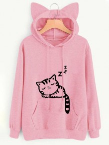 Pink Cat Print Cat Ears Drawstring Pockets Oversize Casual Fashion Cute Hooded Sweatshirt