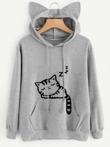Light Grey Cat Print Cat Ears Drawstring Pockets Cute Hooded Sweatshirt