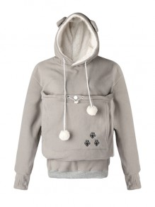 Grey Cat Footprints Pockets Drawstring Dog Carrier Hooded Long Sleeve Cute Sweatshirt