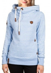 Light Blue Striped Drawstring Hooded Long Sleeve Casual Pullover Sweatshirt