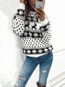 Black Floral Round Neck Long Sleeve Fashion Christmas Sweatshirt