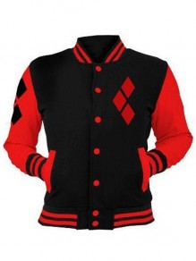 Black Patchwork PocketsZipper Harley Quinn Sport Long Sleeve Cardigan Hooded Sweatshirt