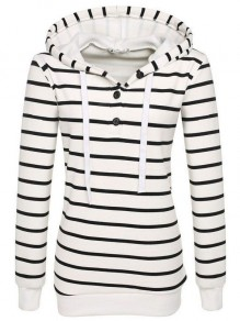 White Striped Drawstring Buttons Long Sleeve Hooded Sweatshirt