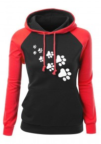 Red-Black Cat Claw Print Drawstring Pockets Casual Pullover Hooded Sweatshirt