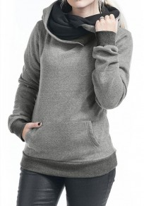 Grey Pockets Plus Size Long Sleeve Cowl Neck Hooded Pullover Sweatshirt