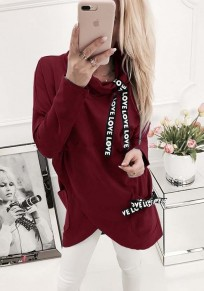 Red Plain Irregular Pockets Drawstring High Neck Pullover Sweatshirt