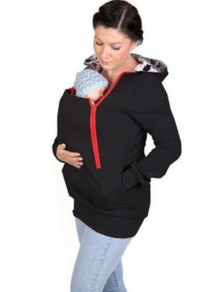 Black Multi-functional Zipper Kangaroo Baby Bags Casual Warm Hooded Sweatshirt