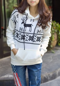 White Floral Hooded Long Sleeve Casual Christmas Sweatshirt