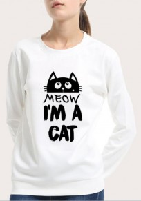 White I Am A Cat Letter Print Round Neck Long Sleeve Sweatshirt