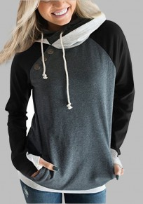 Grey Patchwork Drawstring Pockets Studded Double Hooded Fashion Pullover Sweatshirt
